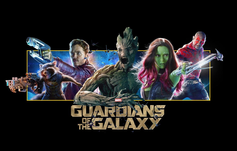 Фото обои Vin Diesel, Bradley Cooper, Rocket, destroyer, Zoe Saldana, raccoon, Стражи Галактики, Peter Quill, Star-Lord, Gamora, …