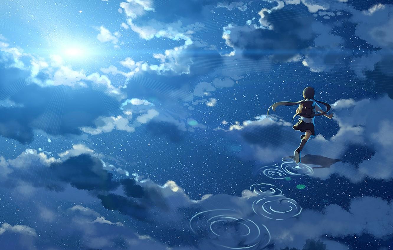 Фото обои небо, вода, девушка, солнце, облака, отражение, аниме, арт, форма, школьница, hanyijie