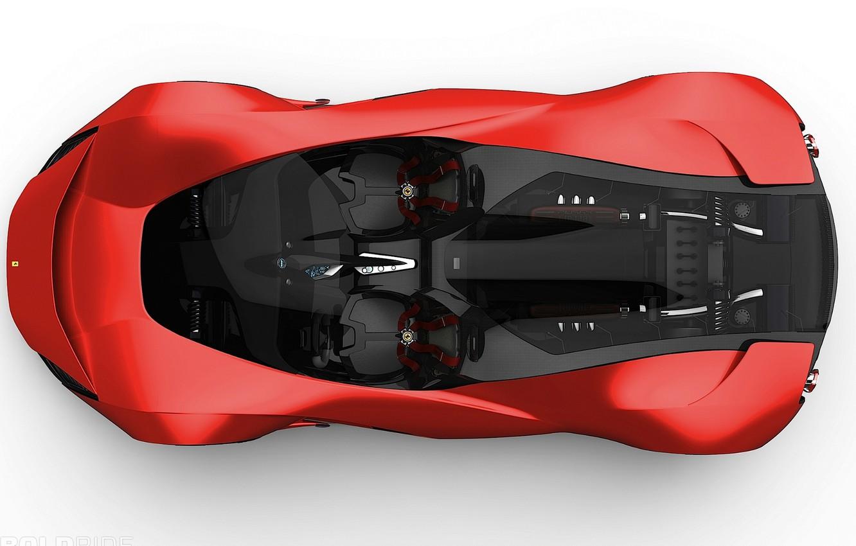 Фото обои concept, красная, 1920x1200, конфетка, ferrari-aliante, черный салон