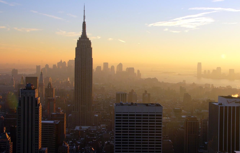 Фото обои Закат, Солнце, Небо, Облака, Дома, Вечер, Нью-Йорк, Город, Панорама, Манхеттен, Здания, USA, США, Мегаполис, New …