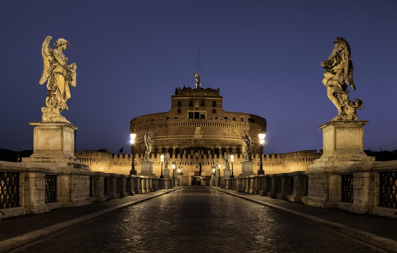 Фото обои ночь, city, город, lights, освещение, Рим, Италия, архитектура, Italy, night, Rome, столица, capital, St. Angelo …