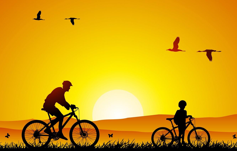 Фото обои природа, настроение, настроения, минимализм, прогулка, птины, сын, велосипеды, папа