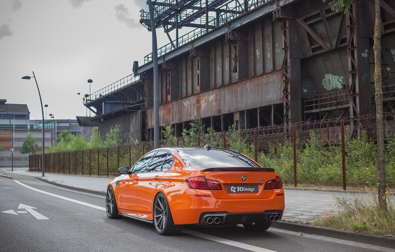Фото обои дорога, car, забор, столб, BMW, фонарь, orange, 3D Design, машна