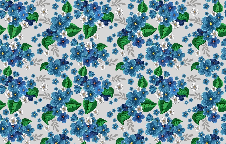 Фото обои цветы, синий, узор