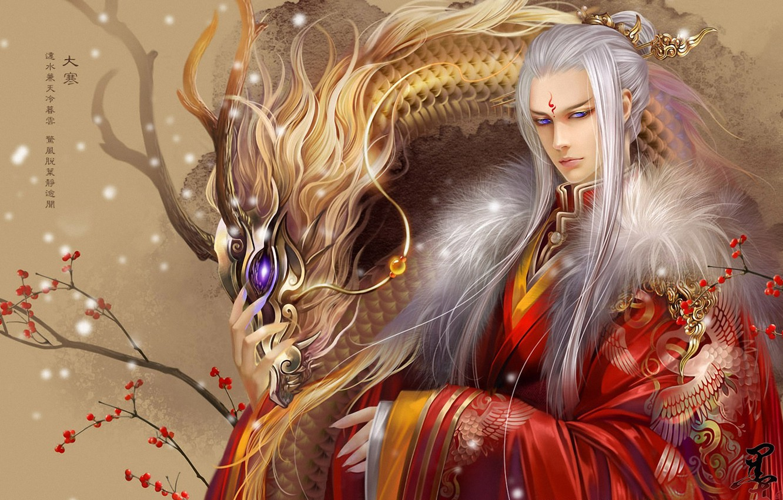 Фото обои ягоды, дракон, ветка, тату, арт, иероглифы, парень, белые волосы, feimo