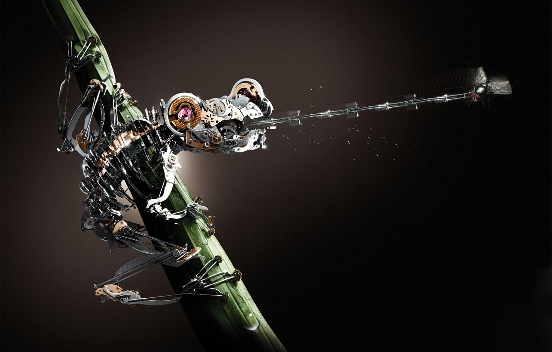 Фото обои язык, муха, робот, охота, жаба, frog