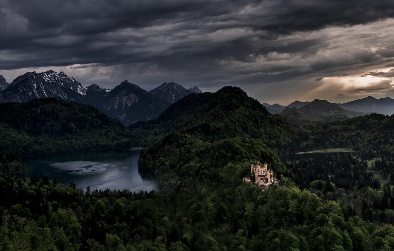 Фото обои пейзаж, горы, замок, Германия, Бавария, панорама, Germany, Bavaria