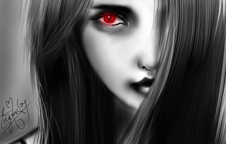 Картинка девушки с черными глазами