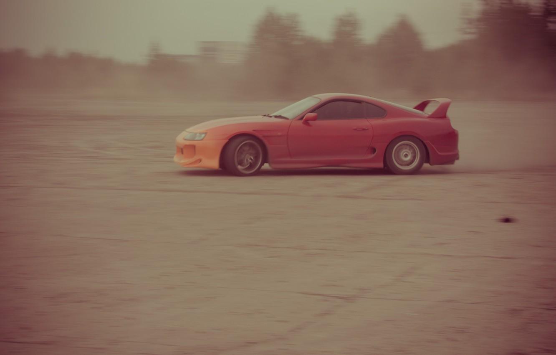 Фото обои авто, пыль, supra, drift