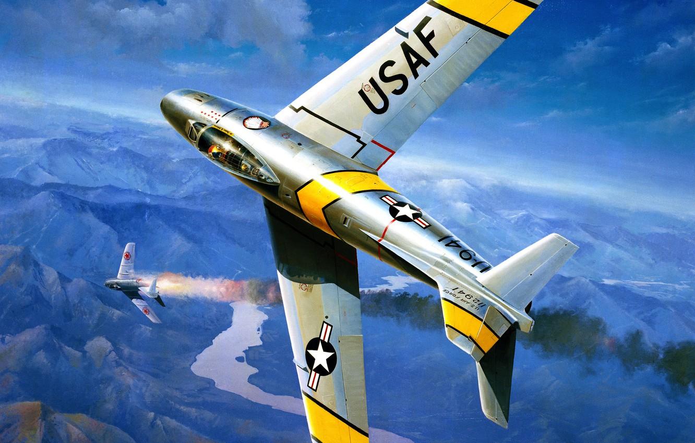 Обои painting, ww2, jet, Airplane, aviation, North american f-86d sabre, war, jet. Авиация foto 12