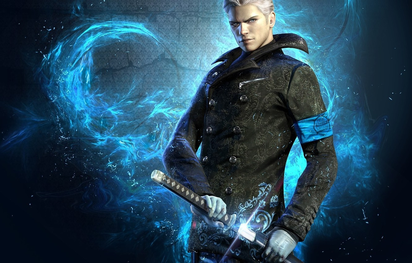 Фото обои wallpaper, sword, game, blue, blue eyes, katana, man, devil may cry, dmc, devil may cry …