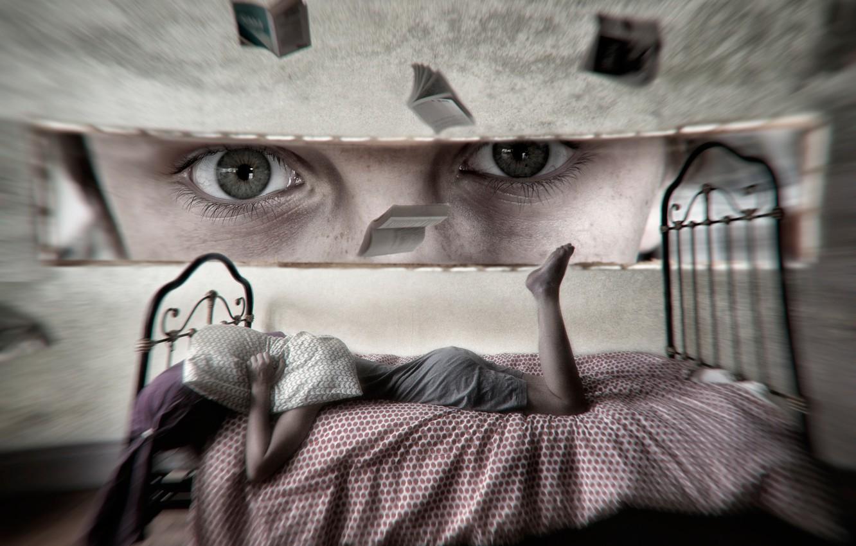 Фото обои глаза, взгляд, девушка, фантазия, кровать, арт, воображение
