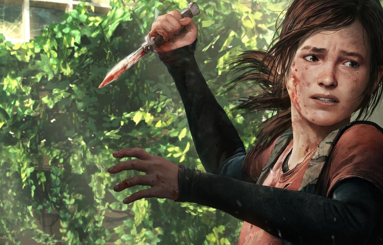 Фото обои взгляд, оружие, кровь, игра, арт, нож, Элли, the last of us, Ellie