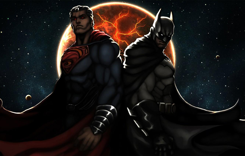 Фото обои batman, superman, art, dark knight, man of steel