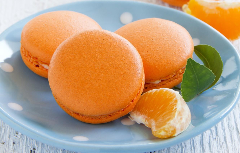 Фото обои миска, долька мандарины, мандариновые макаруны