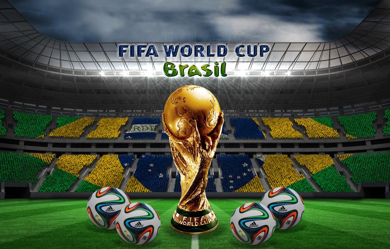 Фото обои футбол, мячи, Бразилия, stadium, football, flag, ball, кубок мира, World Cup, Brasil, FIFA, 2014, бразука, …