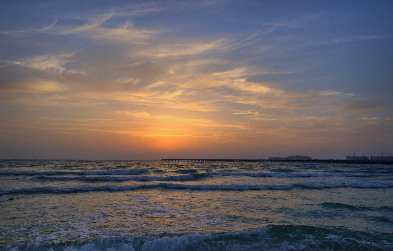 Фото обои пляж, закат, Дубаи, ОАЭ