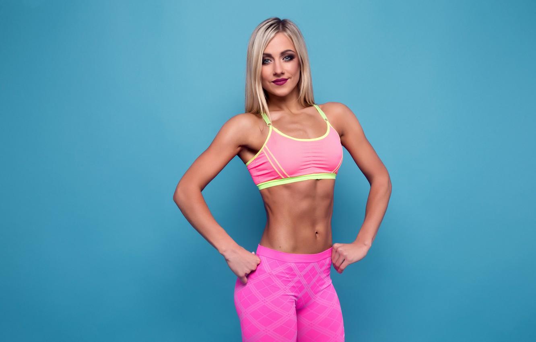 Обои blonde, pose, fitness, abs картинки на рабочий стол, раздел девушки -  скачать