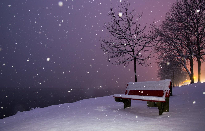 Картинки ночной снег