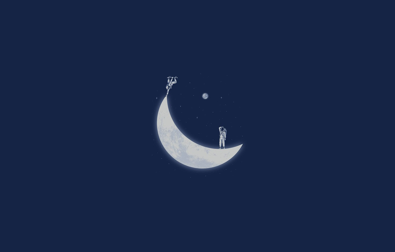 Фото обои космос, луна, космонавт, месяц, скейт, naolito