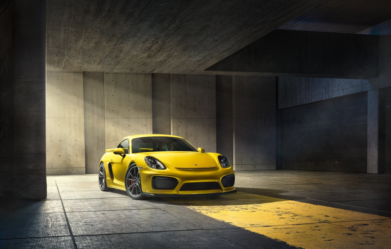 Фото обои Porsche, Cayman, Front, Yellow, Parking, Supercar, GT4, 2015