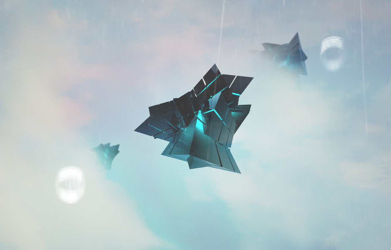 Фото обои небо, абстракция, туман, светлый фон, фигуры