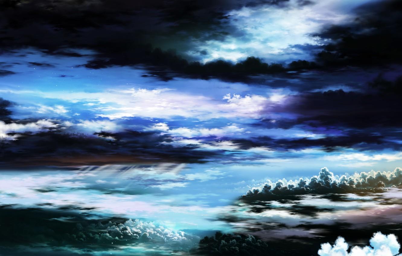 Фото обои небо, звезды, облака, природа, арт, tsujiki