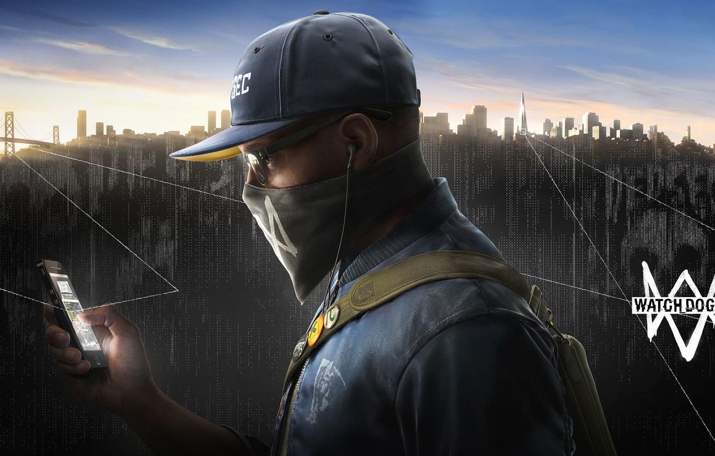 Фото обои город, очки, кепка, пушка, мобильник, хак, Watch Dogs2