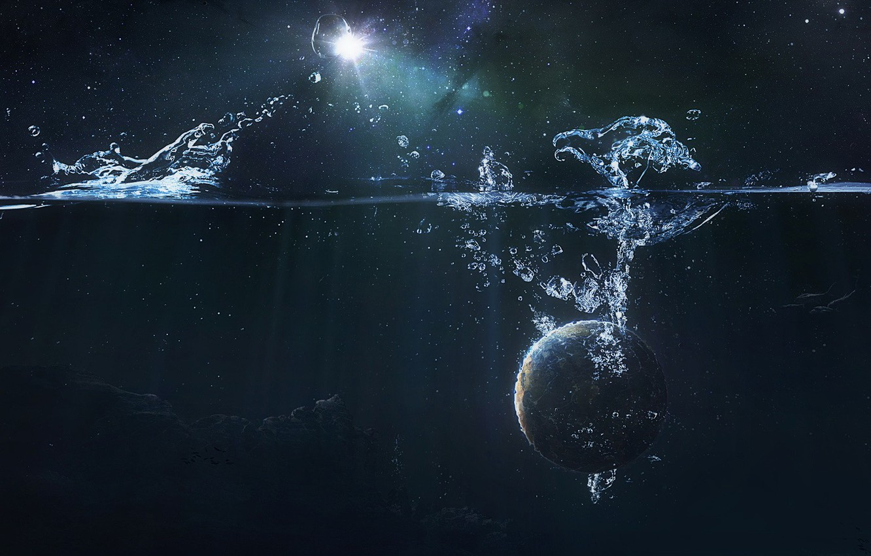 Фото обои Галактика, Звезды, Планета