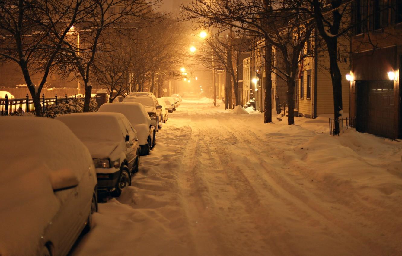 Обои snow, олбани, ny, new york, ночь, winter, Albany. Города foto 6