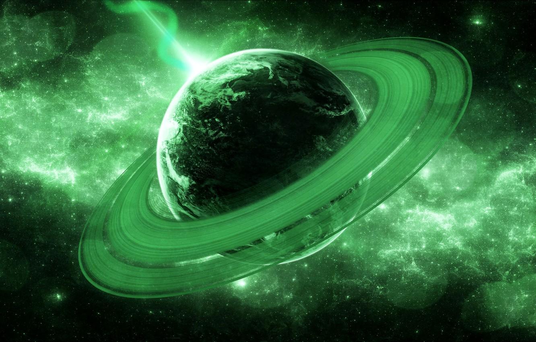 Фото обои вселенная, планета, кольца