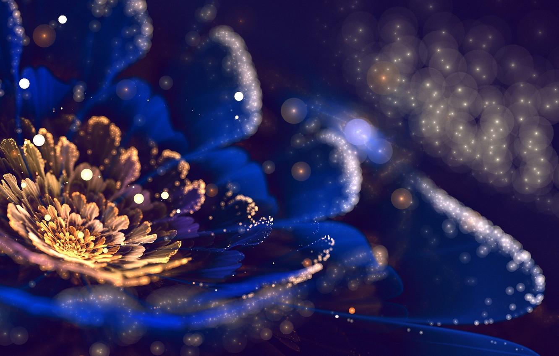 Фото обои цветок, пыльца, лепестки, арт, фрактал, боке