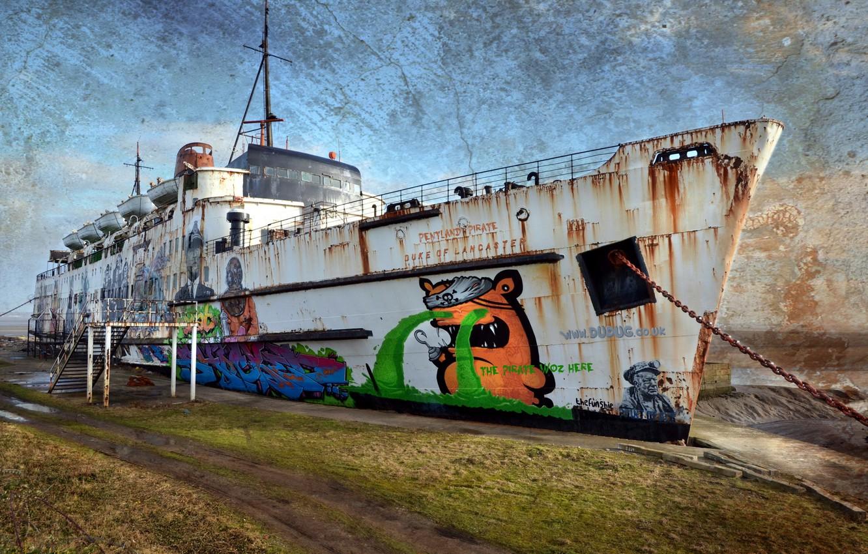 Фото обои фон, корабль, причал
