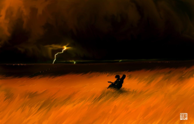 Фото обои гроза, поле, гитара