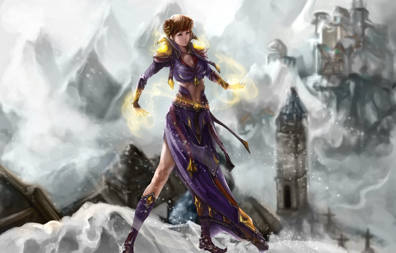 Фото обои холод, зима, взгляд, девушка, снег, лицо, магия, волосы, руки, платье, арт, jakuroi