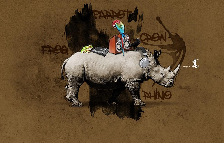 Фото обои Граффити, носорог, design, crow, frog, parrot, rhino