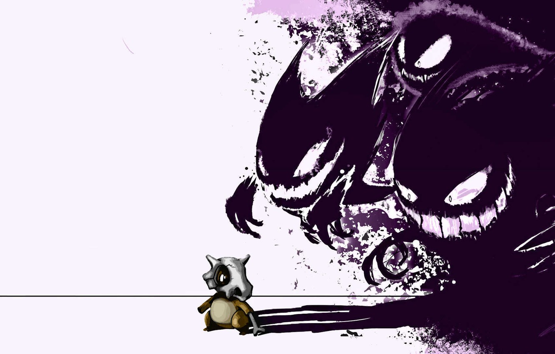 Фото обои белое, черное, haunter, покемон, pokemon, gastly, генгар, gengar, гастли, хонтер, cubone, кубон