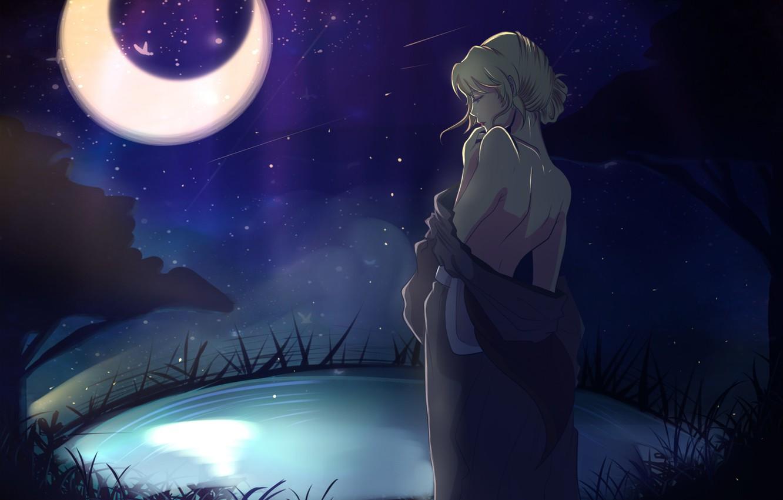 Фото обои небо, девушка, звезды, ночь, луна, спина, аниме, Shiori