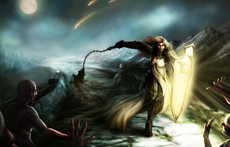Фото обои девушка, свет, горы, оружие, луна, арт, щит, Diablo III, доспех, рана, враги, Reaper of Souls, …