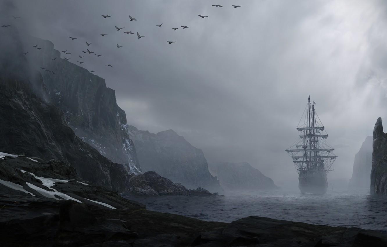 Фото обои море, вода, пейзаж, горы, птицы, туман, скалы, берег, корабль