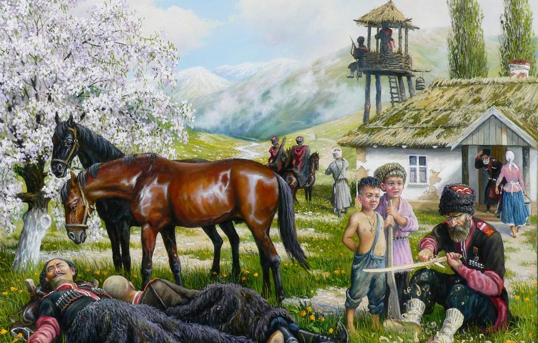 Фото обои дети, весна, арт, казаки, Андрей Лях, станица