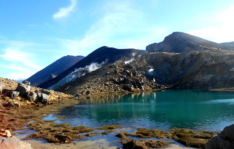 Фото обои небо, горы, озеро, камни, Новая Зеландия, new zealand, emerald lakes
