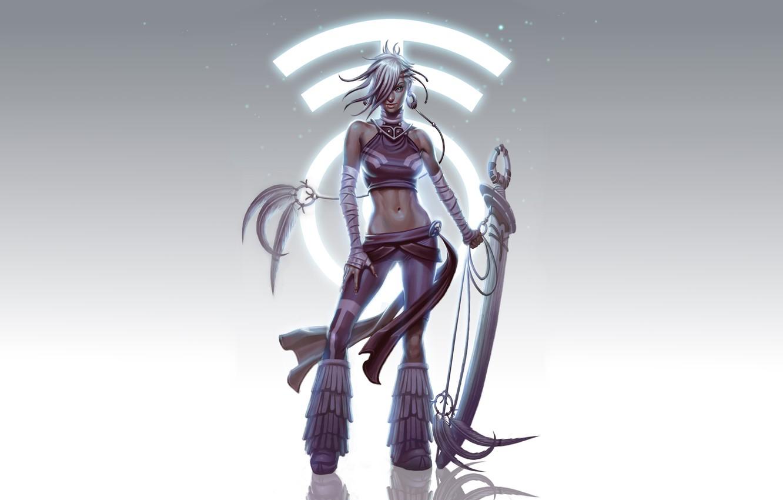 Фото обои девушка, поза, рисунок, меч, перья, фэнтези, арт, символ, girl, sword, fantasy, воительница, art, feathers, symbol, …