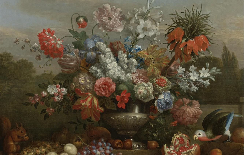 Фото обои цветы, ландшафт, ваза, натюрморт, Jacob Bogdani