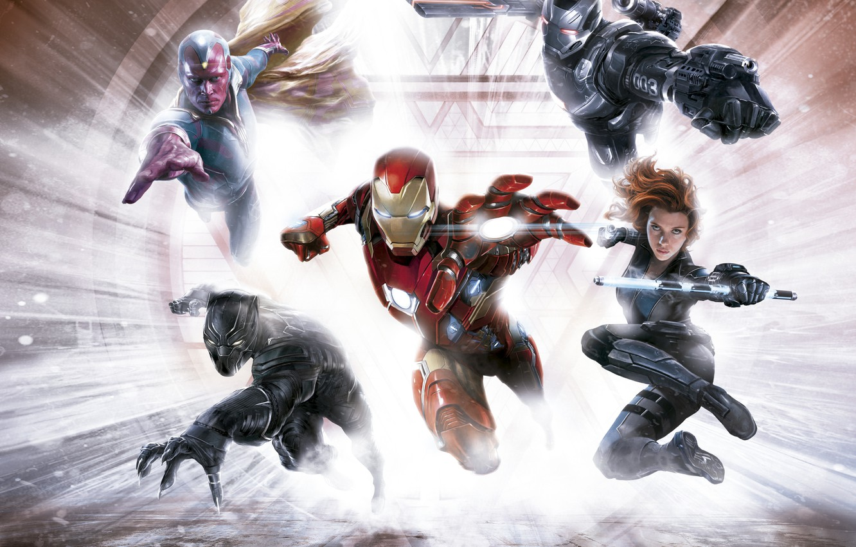 Фото обои фантастика, Scarlett Johansson, арт, Скарлетт Йоханссон, Vision, Iron Man, комикс, супергерои, Black Widow, MARVEL, концепт-арт, …