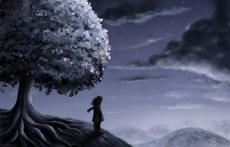 Фото обои звезды, облака, ночь, дерево, человек, холм, арт