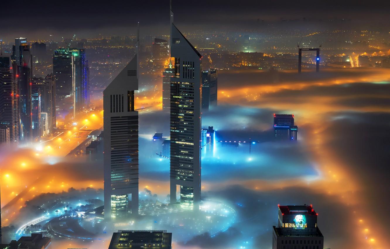 Фото обои ночь, город, огни, дома, Дубай, ОАЭ