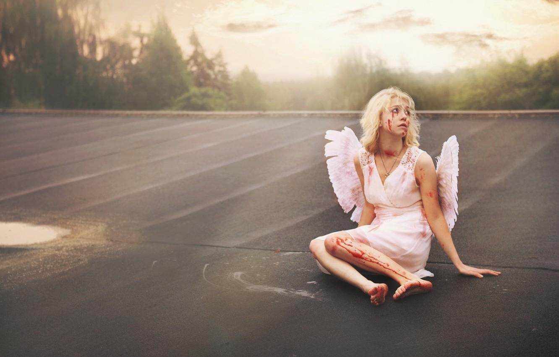Фото обои девушка, ситуация, падший ангел