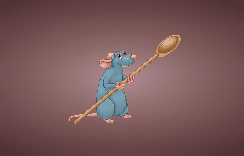 Фото обои ложка, Рататуй, Ratatouille, грызун, rat, крыска