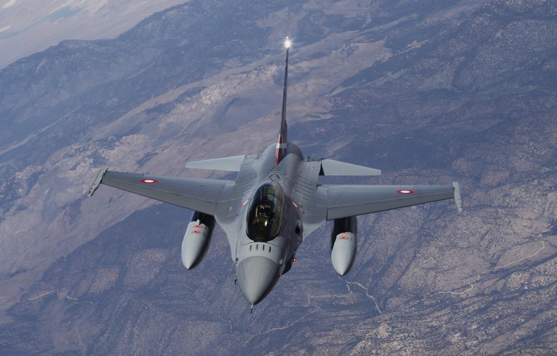 Обои Самолёт, fighting falcon, вираж, истребитель, Пейзаж. Авиация foto 10